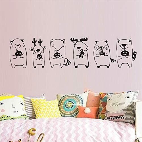 shentop Bébé animaux mignons Tenant Stickers muraux citrouille Pour Chambre d'enfants DIY Stickers Muraux Partie Halloween Décoration Accessoires67 * 16 cm