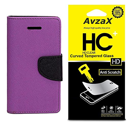 Avzax Flip Cover With Magnetic Closure (Purple) with Tempered Glass For Micromax Yu Unique
