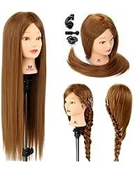 Neverland 26'' Cheveux Synthétiques Têtes d'Exercice avec Pince de Support Cosmétologie Mannequin Tête À Coiffer Femme
