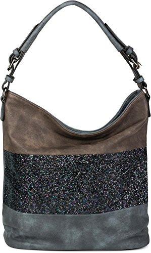 Metallic Kleine Hobo (styleBREAKER edle 2-farbige Hobo Bag Handtasche mit Pailletten Streifen, Shopper, Schultertasche, Tasche, Damen 02012181, Farbe:Blau / Dunkelbraun)