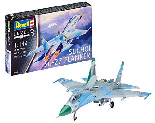 Revell Modellbausatz Flugzeug 1:144 - Suchoi Su-27 Flanker im Maßstab 1:144, Level 3, originalgetreue Nachbildung mit vielen Details, 03948