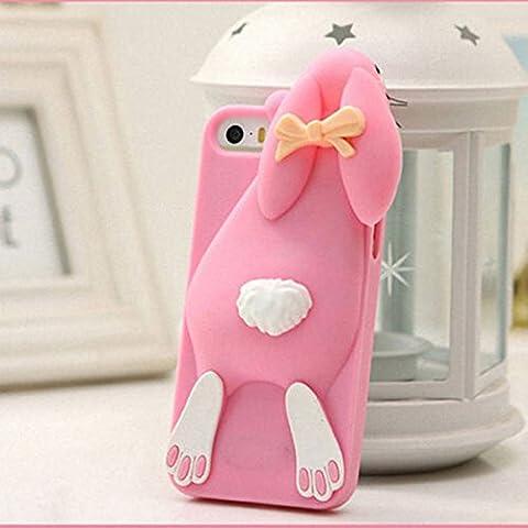 3d Dibujos Animados Conejo Silicona Carcasa para iPhone 4, 4s, 5, 5S se 66S Plus, rosa, iPhone6