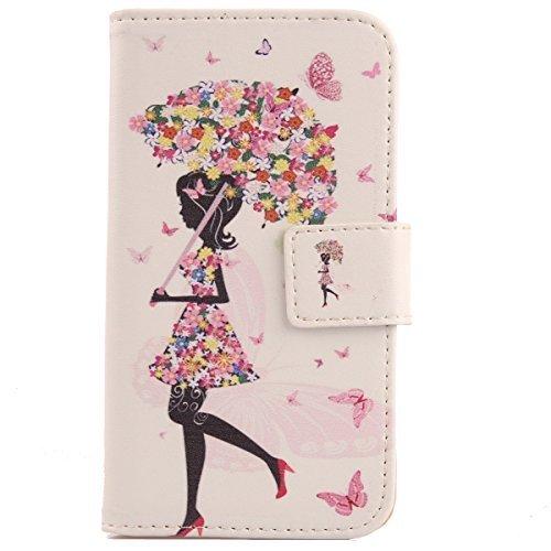 """Lankashi PU Flip Funda De Carcasa Cuero Case Cover Piel Para Doogee Valencia 2 Y100 Plus 5.5"""" Umbrella Design"""