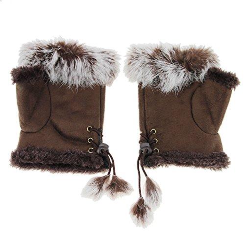 Damen winter Handschuhe Fingerlose Fäustlinge Niedliche Plüsch Damenhandschuhe mit Kunstfell Warm Fingerhandschuhe für Outdoor