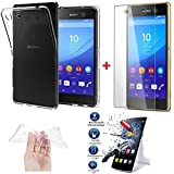 *PACK INCASSABLE iPOMCASE* COQUE SOUPLE GEL SILICONE INCASSABLE TRANSPARENTE + FILM PROTECTEUR INCASSABLE VERRE TREMPE SONY XPERIA M5