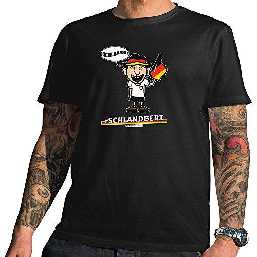 HARIZ  Pixbros Collection Herren T-Shirt Schwarz Designs Wählbar Deutschland Trikot Weltmeisterschaft Urkunde Bang Sticks Pixbros07: Schlandbert M