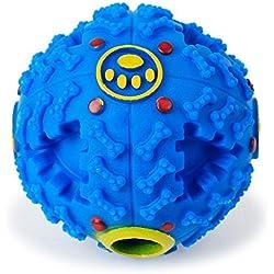 Perro IQ Bola - TianTa - Perro Mascota Interactivo Tratar IQ Bola Juguetes Bola Perro De Mascar Limpieza De Dientes Bola Bola De Alimentos Para Tamaño Pequeño / Mediano Perro - 4.5 pulgada - Azul