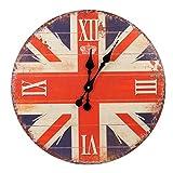 Roomando XXL Wanduhr Uhr Ø 58 cm Shabby Vintage Motivuhr Küchenuhr (Union Jack)