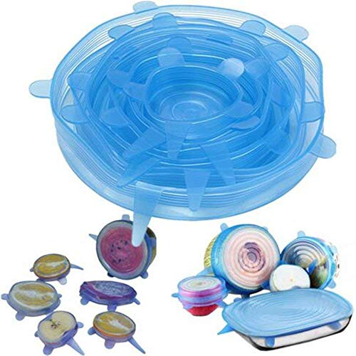 MODERN INNOVATOR Silicone Reusable Stretch Lids and Covers Set, Food Wraps Protector Kitchen Picnic Utensils, Food Containers, Glass Bowls, Plates, Plastic Mugs, Cups. Microwave,Freezer Safe (6 Pcs)