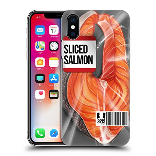 Head Case Designs Calamaro Fresco Carne Cruda Cover Retro Rigida per Apple iPhone X Salmone Tagliato