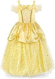 JerrisApparel Niña Princesa Belle Disfraz Lentejuela Tul Fiesta Vestido