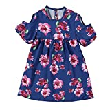 Inkach Girls Princess Dress Inkach Fashion Little Girls High Waist Floral Print Strapless Bohemia Loose Summer Dress (120 Blue)