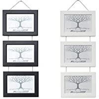 Triple Wall Hanging Picture Photo Frames with Chrome Chain. Black or White. Landscape or Portrait. 5x7 4x6 A4 by MYuniqueDECOR