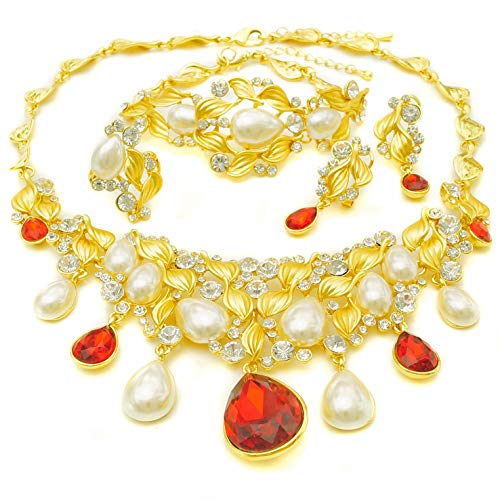 Yulaili Perlenketten für Frauen Fashion Schmuck-Sets African Kostüm Fashion Charms Armband 24K Dubai vergoldet ()