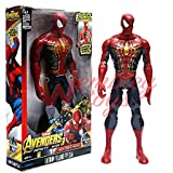 Marvel and Justice League Comic/Movie Super Hero Legends - 12 Inch Action Figure Toy with Sound and Batteries (Spiderman- Black)