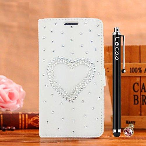 Locaa(TM) Pour Apple IPhone 6 IPhone6 4.7 inch 3D Bling Case Coque Étui Cadeaux Fait Cuir Qualité Housse Chocs Couverture Protection Cover Shell Etui Romantique [Couleur 1] Rose - Fleur ange Blanc - Aimer