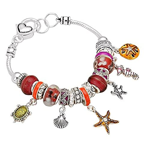 Rosemarie Collections Women's Pandora Style Charm Bracelet Starfish Seahorse Turtle (Red)