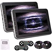A pair of 10.1 Inch Universal Dual High Definition Digital Screen 1024x600 Multi-region Headrest Car DVD Player Twin LCD Screen Video Multimedia Player With Two Wireless Remote Control Built in HDMI Input Port