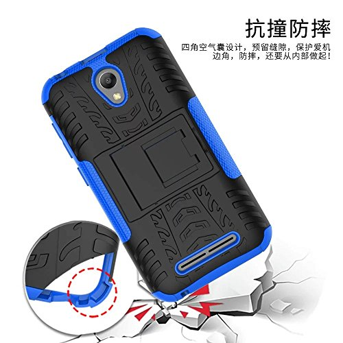 YHUISEN ZTE Blade L110 Case, Hyun Pattern Dual Layer Hybrid Armor Kickstand 2 In 1 Shockproof Case Cover für ZTE Blade L110 ( Color : Red ) Blue