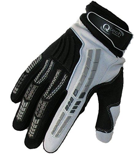 Qtech - Guanti da Motocross Adulto per Trials Enduro BMX - Fuori Strada Motorcross - Bianco - M (ca. 9 cm)