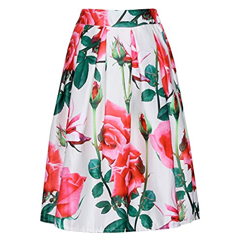 QIYUN.Z Floral Femmes De La Mode ImprimeTaille Haute Plissee Robe Retro Midi Jupes Longues Blanc