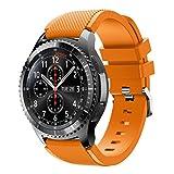 Para Samsung Gear S3 Frontier, DoraMe Moda de los Deportes de Silicona Pulsera Correa Bandera (Naranja3)