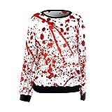 Amlaiworld Sweatshirts Mode Halloween Blutiges Kostüm Terror Locker Langarmshirts Damen Rot Weich Sweatshirt Neuheit Winter Herbst Pullover Halloween Kostüm (M, Rot)