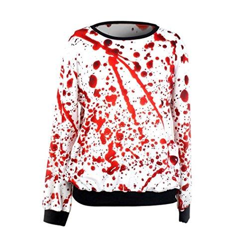 Amlaiworld Mode Halloween Blutiges Kostüm Terror Locker Langarmshirts -