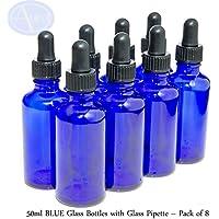 Preisvergleich für 8er-PACKUNG - 50ml BLAUGLAS-Flaschen mit GLAS-Pipetten. Ätherisches Öl / Verwendung in Aromatherapie