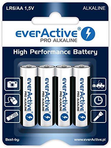 everActive AA Batterien 4er Pack, Pro Alkaline, Mignon LR6 R6 1.5V, höchster Leistung, 10 Jahre Haltbarkeit, 4 Stück - 1 Blisterkarte