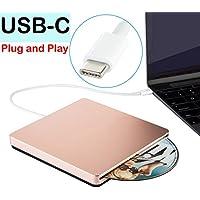 USB-C SuperDrive External CD DVD Drive USB DVD CD Burner Drive CD DVD+/-RW Rewriter/Writer/Player High Speed Data for latest Mac/MacBook Pro/Laptop/Desktop Support Windows10/7/8 Mac OSX(Rose Gold)