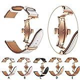 Altsommer für Samsung Gear S3 22mm Armband Leder, Fashion Armband Business mit Gold Schmetterlingsschnalle, Leder Ersatz Armband Sport Bügel Armband Leder Armband für Damen Herren (Rosa)