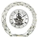 Qddan Reloj de Chimenea Mesa Antigua Reloj Mudo hogar Cocina Sala decoración decoración Estilo nórdico Cristal diseño Creativo Regalo, Alimentado por batería (Color : Clear)