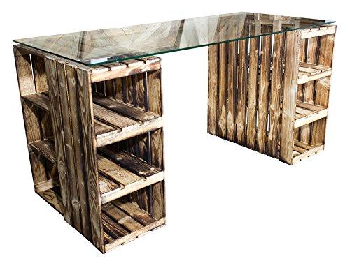 Vinterior Flambierter Schreibtisch aus Neuen Holzkisten/Obstkisten/ Apfelkisten in GEFLAMMT inkl. klarer Glasplatte 150x70x75cm (Do It Yourself-schreibtisch)