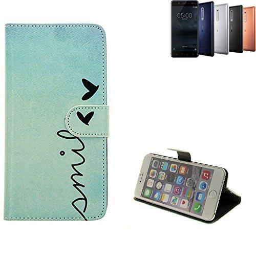 K-S-Trade® Für Nokia 5 Dual-SIM Hülle Wallet Case Schutzhülle Flip Cover Tasche Bookstyle Etui Handyhülle ''Smile'' Türkis Standfunktion Kameraschutz (1Stk)