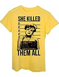 iMage T-Shirt Jessica Fletcher HA Ucciso Tutti Foto SEGNALETICA - Divertenti - Maglietta