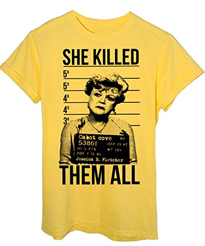 T-shirt jessica fletcher ha ucciso tutti foto segnaletica - divertenti - maglietta image - uomo-l - gialla
