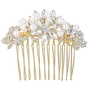Ever Faith Damen Haarkamm Österreichische Kristall Cream Simulierte Perle Braut Blume Blatt Haare kämmen Klar