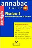 Annabac corrigés 2001 : Physique S