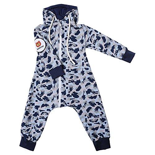 Bambinizon Baby Sweat Overall / Hausanzug, INNOVATION - WINDELN WECHSELN einfach gemacht! In ROSA, BLAU, GRÜN, BRAUN oder TÜRKIS. Für Mädchen und Jungen geeignet. Mit Kapuze. (98, hellblau)