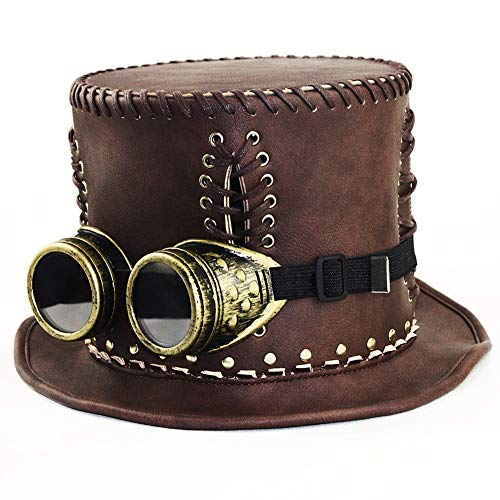 Steampunk Hut Charmant, Steampunk Hut, Steampunk Gentleman Hut, Frauen-Steampunk-Hut, Halloween Party Party/Braun (Size : S (54-56) cm) (Sie Halloween Ziehen)