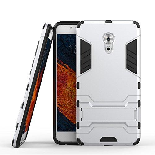 Tasche für Meizu Pro 6 Plus Hülle, Ycloud das stärkste Telefon Shock Proof Armor Dual Schutzabdeckung Hochfeste PC Kunststoffoberschale Shockproof mit Halterung Schutzabdeckung Silber