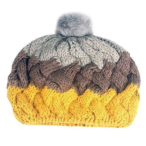 Fuibo Strickmützen für Herren und Dame, Männer Frauen Baggy Warm Crochet Winter Wolle Stricken Ski Beanie Skull Slouchy Caps Hut | Kappen für Winter Stricken Outdoors Ski Beanie (B) Crochet Skull Cap Hat
