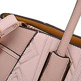 Sally Young Leather Look Stitching Shoulder Handbag Elegant Design Top Handle Fashion Handbags for Women (Pink)