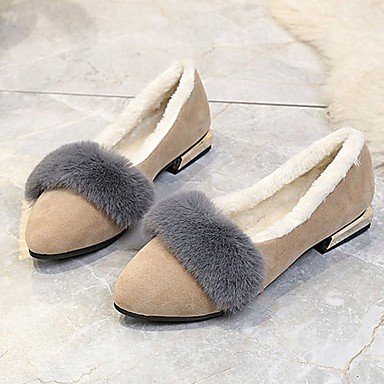 Wuyulunbi @ Winter Comfort Femmes Chaussures Plates Talon Appartements Extérieure Vert Militaire Pointe Noire Beige Us7.5 / Eu38 / Uk5.5 / Cn38