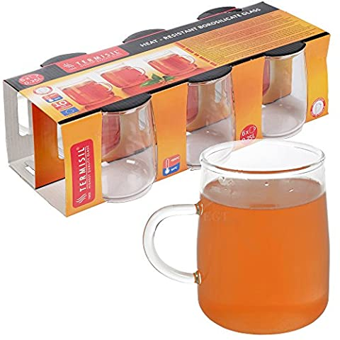 6 Termisil Glass Mugs Hot Cold Drinks Serving Glassware Coffee
