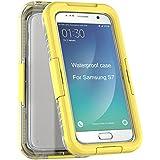 Coque Étanche pour Samsung Galaxy S7 Edge G9350 - Yihya Transparent Clair Housse étanche/Imperméable Antipoussière Antichoc étui Waterproof Shockproof Full Protection Case Cover--Jaune