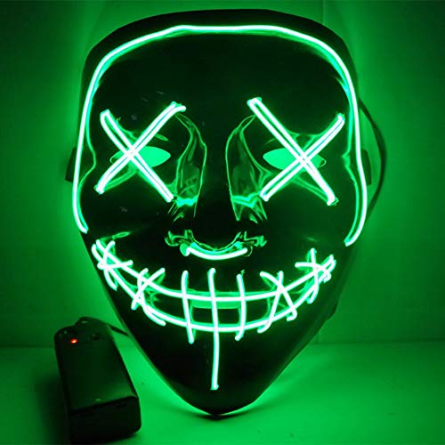 URMAGIC LED Maske 3 Einstellbare Blitzmodi Horror Halloween Maske Cosplay Fasching Halloween Kostüm