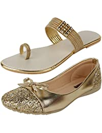 AUTHENTIC VOGUE Women's Combo Pack of 2 Golden Colour Flat Sandal & Bellerinas (Combo Pack of 2)
