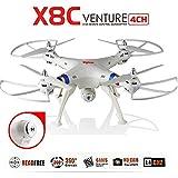 s-idee 01509 weiß Quadrocopter X8C Forscher Syma X8C HD Kamera mit Tonaufzeichnung mit Motor-STOPP-Funktion & Akku-Warner, 360° Flip Funktion, Nachfolger vom Syma X5C, 2.4 GHz, 4-Kanal, 6-AXIS Stabilization System (weiss)